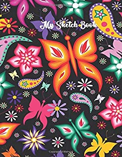 Sketch Book: Pretty Watercolor Butterflies Blank Sketchpad for Women & Girls. , Large Unlined Notebook Journal for Drawing, Doodling & Writing Doodle Diaries 109 Pages (8.5