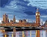 Pintar por Numeros Reloj del puente del río de la ciudad para...