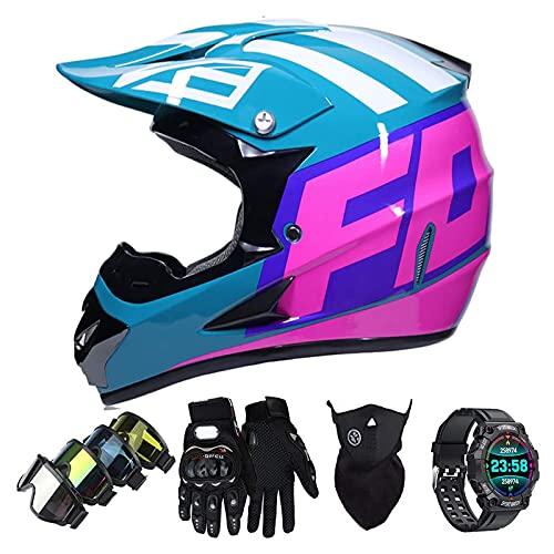 Casco Motocross Niño Set con Diseño FOX, Adulto y Juventud Integral Homologado Moto Cross Casco para Downhill ATV Enduro Off Road (Gafas+Máscara+Guantes+Reloj Inteligente) LXY-30