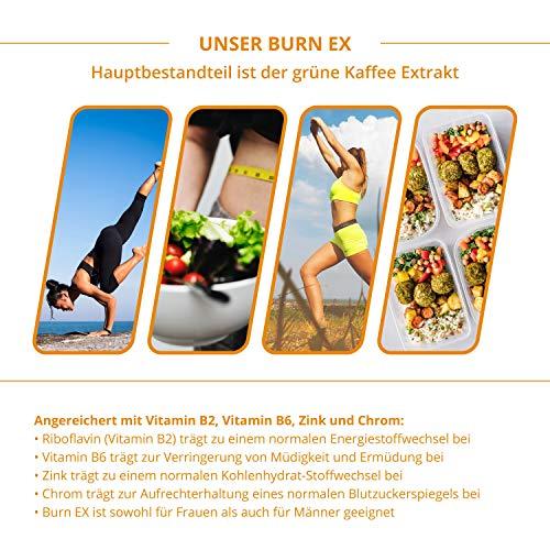 Burn Ex, Grüner Kaffee Extrakt, 90 Kapseln in Premiumqualität, 1800 mg grüne Kaffeebohnen + Grüner Tee + Guarana, 100% natürlich, 1er Pack (1x 79g) - 2