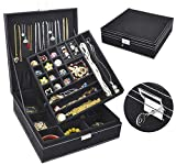 Jewelry Box for Women, QBeel 2 Layer 36 Compartments Necklace Jewelry Organizer with Lock Jewelry Holder for Earrings Bracelets Rings - Black