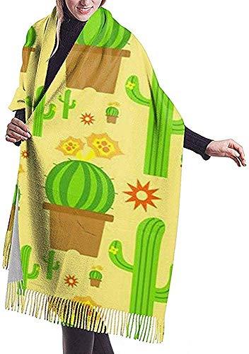 Zseeda Bufanda de cachemira con estampado de cactus amarillo Chal de abrigo de bufanda casual para mujer grande