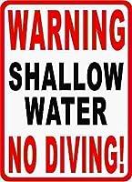 ヴィンテージメタルサインポスターティンアート、浅い水警告ダイビングプールなし3656コーヒーハウスまたは家の壁の装飾メタルティンサイン