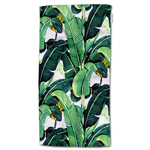 HGOD DESIGNS Tropocal Plant Hand Towels Art Banana Leaf Green White Pattern Soft...