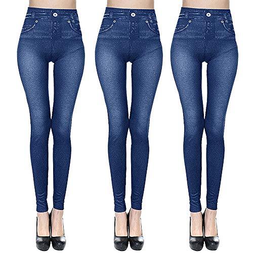 Sfit Damen 3er/Set Treggings Jeggings Jeans Skinny Hose Leggings High Waist Jeggings Leggings Stretch Freizeithose