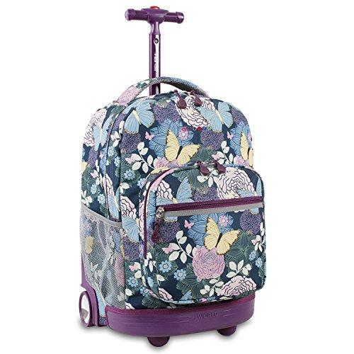 J World New York Sunrise Rolling Backpack, Secret Garden