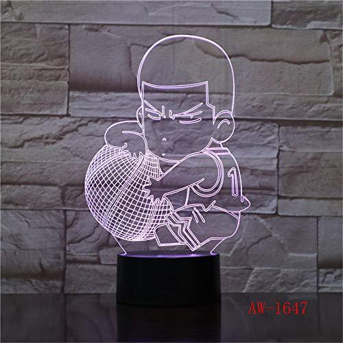 HXFGL Luces de Noche 3D 7 Cambios de Color de Dibujos Animados Baloncesto muchacho LED Táctil de la Lámpara de Mesa de Sueño