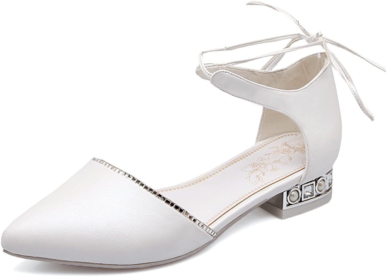 MINIVOG Women's Pointy Toe Low Heel Tie-up Sandal shoes