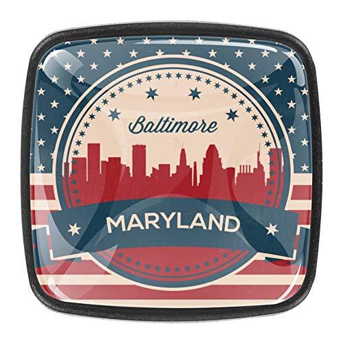 Kommode Schubladenschrank Knöpfe Kristallglas Knöpfe zieht für Küche Kleiderschrank Schrank Badezimmerschrank 4 Stk. Amerikanische Flagge Maryland State Baltimore Symbol