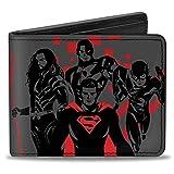 Buckle-Down mens Buckle-down Pu Bifold - Justice League 2017 4-superhero Group + Batman Pose Gray/Black/Red Bi Fold Wallet, Multicolor, 4.0 x 3.5 US