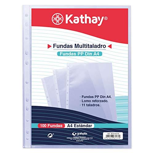 Kathay 86556000. Bolsa de 100 Fundas Transparentes, A4, 11 Taladros, Polipropileno Estándar