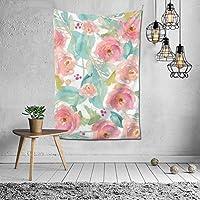 Pastel Flower Background Watercolor ファッションインテリアデコレーション多機能ベッドルームパーソナリティギフト内壁ハンギングルームカーテンギフトウォールアートファッション新館ウェディングギフトかわいい風景10925