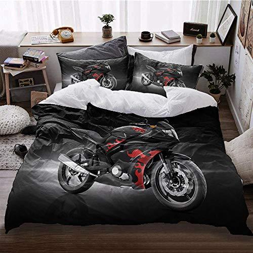 Ropa de Cama de la Serie de Motocicletas de algodón Estampada para Mantener el Juego de Cama con Funda de edredón cálido y Grueso, Regalo de Cama Individual Doble King size-F259x228cm (3 Piezas)