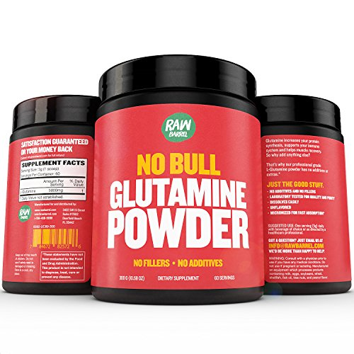 Glutamine Powder - Pure, Unflavored and Micronized L-Glutamine Amino Acid Supplement - 300g, 10.5oz, 60 Servings - Non GMO, Naturally Vegan, Vegetarian Friendly and Gluten Free - by Raw Barrel