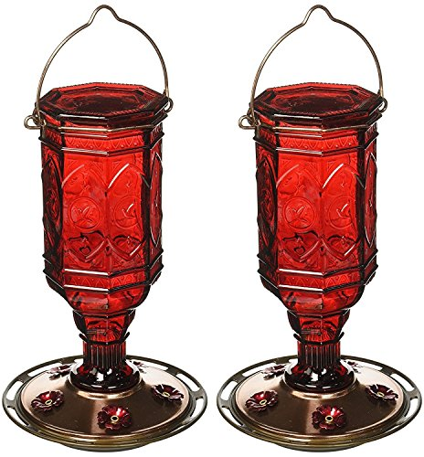 More Birds (2 Pack) Hummingbird Feeder Vintage Red Antique Glass Bottle, 20-Ounce Nectar Capacity