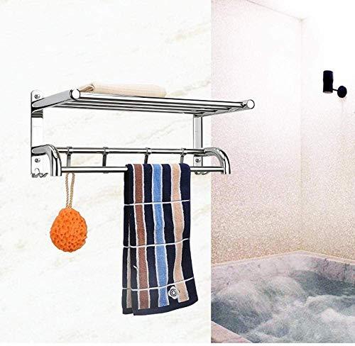 Wtbew-u Toallero Baño, Toallero Pared Acero Inoxidable Soporte de Toalla Doble montado en la Pared, baño 304 Acero Inoxidable Pulido con Soporte y Ganchos de pared-70 cm (Color : 40cm)