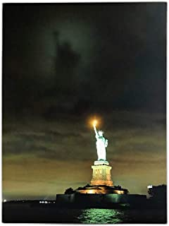 BANBERRY DESIGNS Patriotic Wall Art - Statue of Liberty LED Light Up Picture - Canvas Print with Ellis Island and Along The Night Sky - American Decor- New York City Artwork