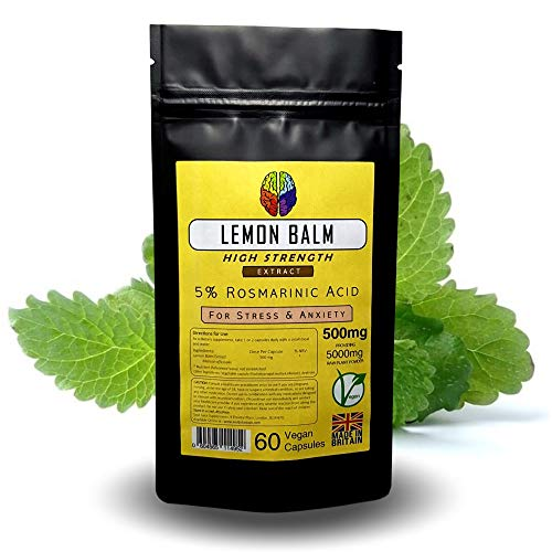 Extracto de bálsamo de limón por Soul Juice | 60x 500mg cápsulas veganas (5% de ácido rosmarinico) 10:1 Eq. 5000mg | Suplemento de estrés y ansiedad (1)