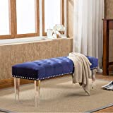 Andeworld Modern Style Ottoman Vanity Bench with Nailhead Upholstered Ottomans & Footstools (Large, Blue Wood Legs)
