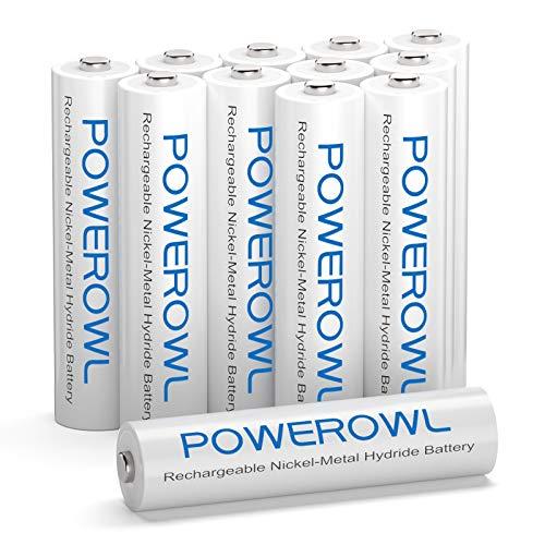POWEROWL Pilas Recargables AAA Alta Capacidad, 12 Piezas (Baja Autodescarga, Precarga) Ni-MH Recargable AAA Pilas 1000mAh, Recargable Aproximadamente 1200 Veces