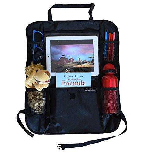 Organiseur de siège de Colourful Clouds, étanche avec support iPad de protection de dossier, Sac pratique pour sièges arrière compatibilité universelle (Noir)