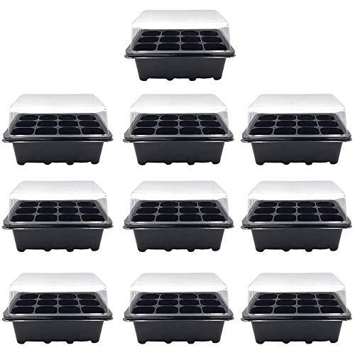 KUANDARMX Molto Bene 10 Pezzi Vassoi per la germinazione Kit per la germinazione 12 Celle per Il Giardinaggio Piantina dei Semi del Bonsai Che coltiva Il Kit di germinazione Regalo, Black