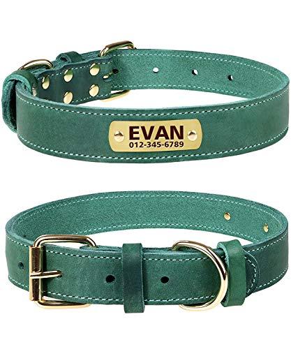 TagME Personalisierte Hundehalsbänder aus Leder mit Eingraviertem Namen und Telefonnummer/Hundehalsbänder aus Echtem Leder für Kleine, Mittlere und Große...