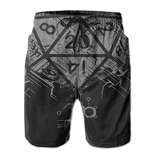 QUEMIN Fantasy D20 Dice Black Men Boys Beach Board Shorts Adjustable Drawstring Quick Dry Sports Running Shorts Summer Beach Shorts XXL
