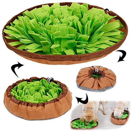 AWOOF Pet Snuffle Mat for Dogs, Interactive Feed Game for Boredom, Encourages Natural Foraging Skills for Cats Dogs Bowl Travel Use, Dog Treat Dispenser Indoor Outdoor Stress Relief