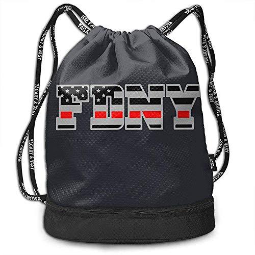 Jennifer Kiot FDNY dünne rote Linie amerikanische Feuerwehr-Flagge fertigte Multifunktionsstrahln-Kordelzug-Rucksack, TPU-wasserdichte Isolierung innerhalb der Tasche besonders an