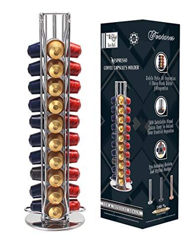 Ever Rich ® Tower 40 - Soporte giratorio para cápsulas de café Nespresso (Z-Tower 40, plata)