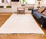 Jarapa Home Alfombra natural hecha a mano de pelo largo algodón reciclado 170 x 240 cm. Alfombra de salón, dormitorio pasillo pie de cama cocina baño etc.