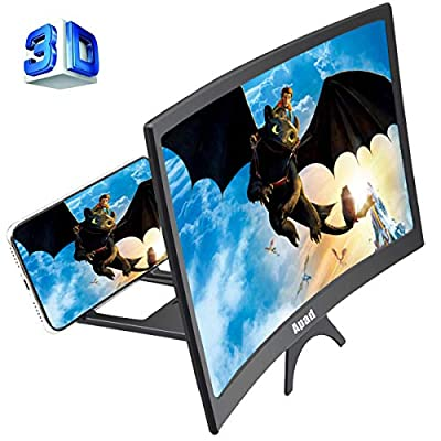 12'' 3D Curve Screen Magnifier for Cell Phone, HD Amplifier Projector Magnifing Screen Enlarger for Movies, Videos, and Gaming with Foldable Stand Compatible with All Smartphones (Black, 12 inch) by Topun