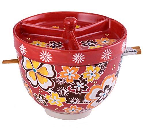 Happy Sales HSRB-LIDRY2, Multi Purpose Japanese Design Ceramic Ramen Udong Soba Tempura Noodle Pho...