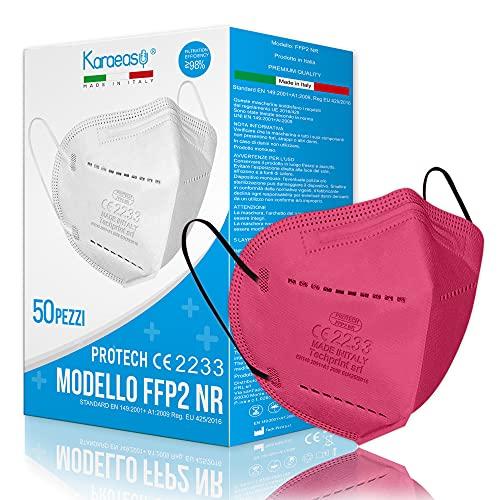 KARAEASY Mascherine Ffp2 Rosa Acceso Certificate CE Made In Italy 5 strati 50 PZ