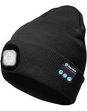 ATNKE LED Iluminado Bluetooth Beanie Cap, USB Recargable inalámbrico Musical Running Hat Ultra Brillante 4 LED Lámpara de luz Impermeable Uso para Esquiar Senderismo Camping Ciclismo