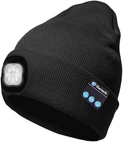 ATNKE Berretto Bluetooth con LED Illuminato, USB Ricaricabile Wireless Musicale Cappello da Corsa Ultra Bright 4 LED Impermeabile Lampada Uso per Sci Escursionismo Campeggio Ciclismo/Nero