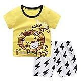 Briskorry Baby Kleidung Set Kinder Jungen Mädchen Shorts Set Kleidung Kurzarm Cartoon Print T-Shirt + Shorts Outfit 2-teilige Sommer Freizeitkleidung Playwear Babykleidung