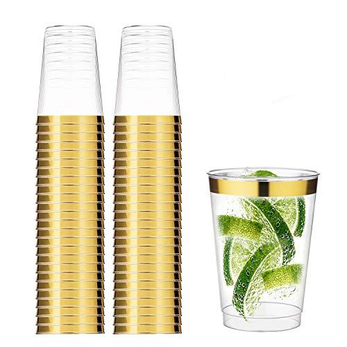 TOROTON 350ml Copas de plástico Desechables, 50 Piezas Vasos de plástico Duro Transparente para Celebraciones de Boda - Oro