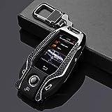 LUOLONG Car Key Hülle, Echtes Leder-Paste Zink-Legierung Auto-Schlüssel-Fall-Abdeckung Für BMW 5 7 Series G11 G12 G30 G32 I8 I12 I15 G01 X3 G02 X4 G05 X5 G07 X7, Schwarz 02