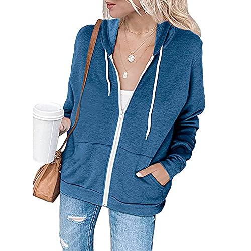 haoricu Christmas Sweatshirt for Women Tie Dye Zipper Drawstring Sweatshirt Stripe Patchwork Loose Tunic Tops Blue