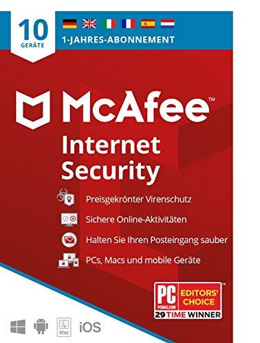 McAfee Internet Security 2020 | 10 Geräte |  1 Jahr | Antivirus Software, Virenschutz-Programm, Passwort Manager, Mobile Security| PC/Mac/Android/iOS |Europäische Ausgabe|Per Post
