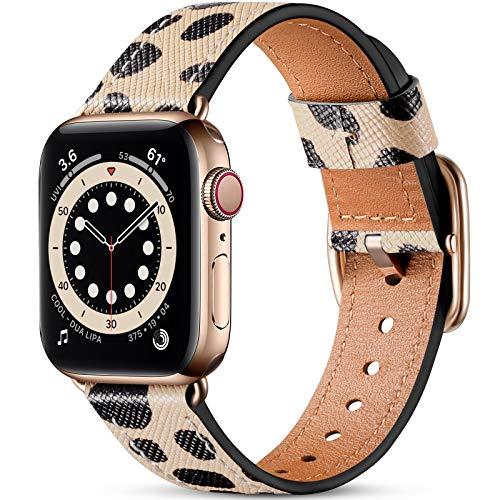Oielai Kompatibel mit Apple Watch Armband 40mm 38mm Damen Männer, Top Grain Echte Lederarmband mit Edelstahl-Verschluss Kompatibel für Apple Watch SE Series 6 5 4 / Series 3 2 1,Cheetah Dots