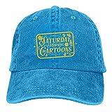 Gymini Sábado por la mañana dibujos animados sombreros algodón lavables gorras de béisbol ajustables para hombre mujer azul