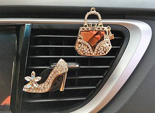 Crystal Shoes & Magic Bag Car Accessories Cute Car Air Freshener Bling Crystal & Diamond Air Vent Clips Automotive Interior Trim Car Decorations GIF (Crystal Shoes & Magic Bag)