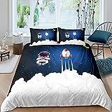 Juego de funda de edredón para niños con cohete de astronauta y cohete espacial, funda de edredón para niños y niñas, adolescentes, espacio exterior, aventura, ropa de cama y lino Super King