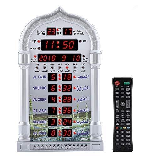 Azan Gebetstisch Wecker,Jadpes Digitale Automatische Betende Wanduhr Manuelle Fernbedienung Automatik Gebetsuhr Muslim Islamischen AZAN Betende LCD Wanduhr für Zuhause/Büro/Moschee