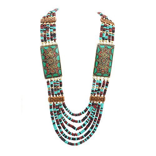 Zephyrr Fashion Multi Strand Necklace for Women Wooden Beaded Tibetan Handmade Bollywood Style Mosaic Jewelry