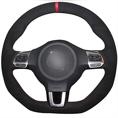 JI Loncky Black Suede Auto Custom Steering Wheel Covers for 2010-2014 VW GTI / 2012-2014 VW Jetta GLI / 2012 2013 VW Golf R / 2014-2016 VW Tiguan R-Line Accessories