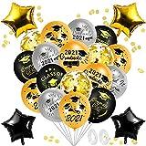 Globos de ceremonia de graduación,Globos de látex blanco dorado negro,Globos de confeti,Globos de Látex,Globos Decoracione Oro Negro,Globos de Decoración de Fiesta,Globos (Negro oro blanco)